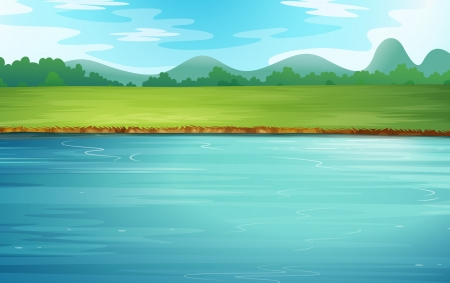flowing river: Illustration of a river and a beautiful landscape