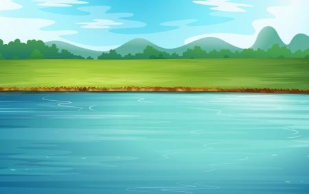 Ilustración de un río y un hermoso paisaje