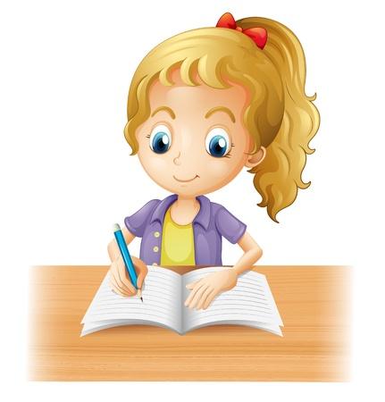 Illustratie van een lange haired meisje schrijven op een witte achtergrond Vector Illustratie