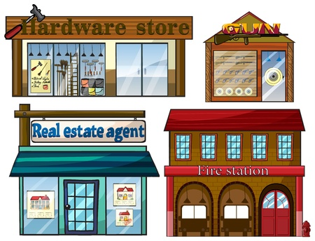 camion de bomberos: Ilustraci�n de los diferentes establecimientos sobre un fondo blanco