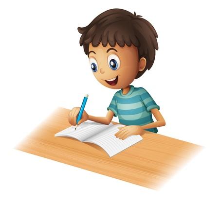 Illustratie van een jongen schrijven op een witte achtergrond