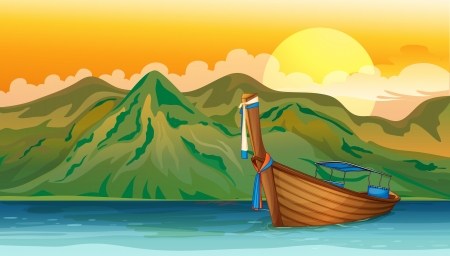 castaway: Illustration of a boat lost in the sea near the mountain area Illustration
