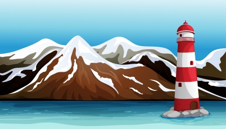 snow covered: Illustration of a tall building in the middle of the sea Illustration