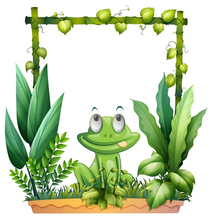 bamboo border: Illustration of a frog thinking on a white background Illustration