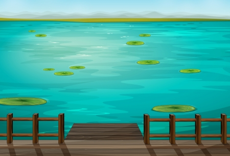 lily pad: Illustration of a very nice scenery of a sea Illustration