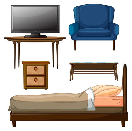 Illustration of wooden furnitures on a white background Vector