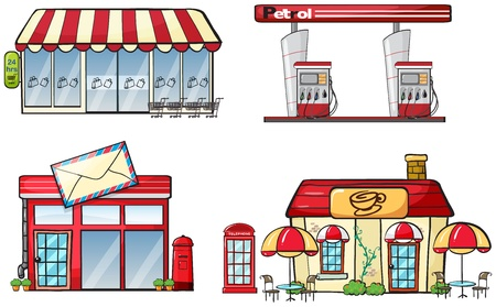 pushcart: Illustration of different business establishments on a white background Illustration