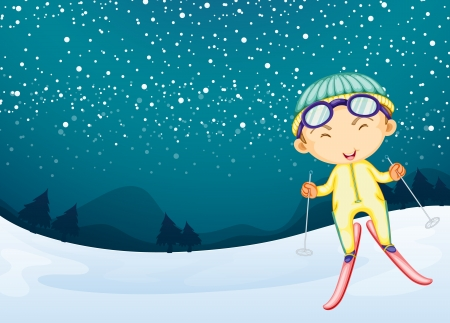 Illustration of a kid playing in the snow Stock Vector - 17358199