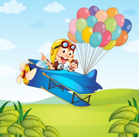 Illustration of two kids riding a plane with balloons Illustration