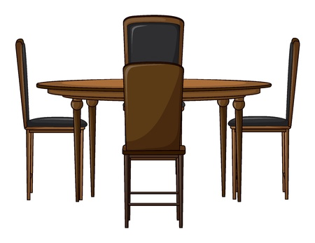 dinning table: Illustration of a dinning table on a white background Illustration