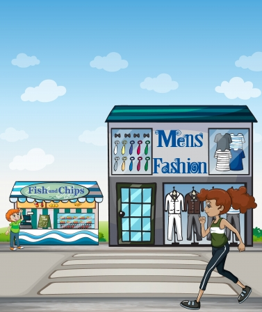 fish shop: Illustration of a jogger, fish and chips store, and fashion store