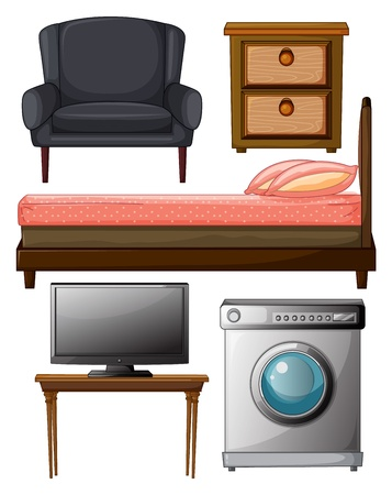 lateral: Illustration of useful furnitures on a white background