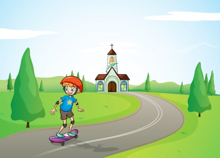 Illustration of a boy and a church Stock Vector - 17383802