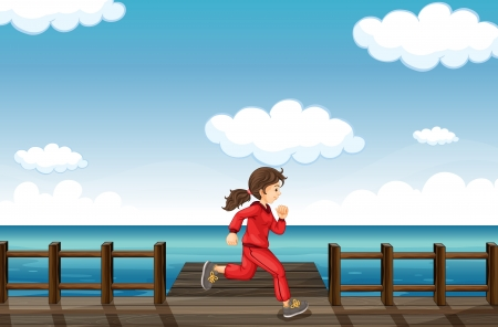 Illustration of a running girl in a beautiful nature