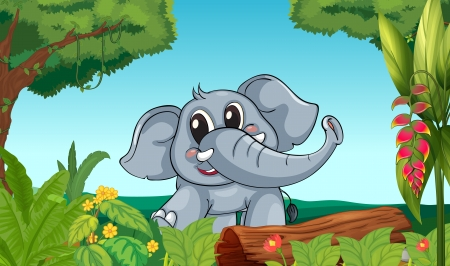 Illustration of an elephant in the forest Vector