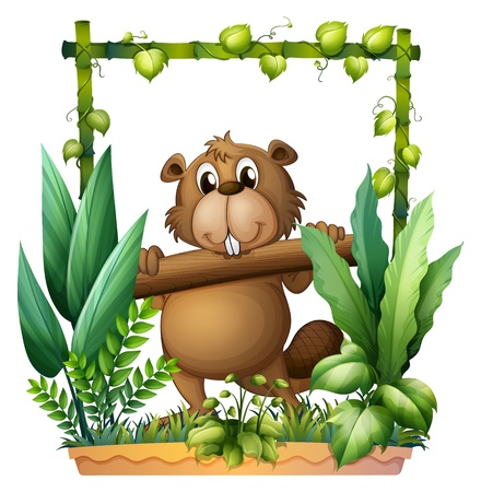 Illustration of a beaver carrying a log on a white background Stock Vector - 17411138