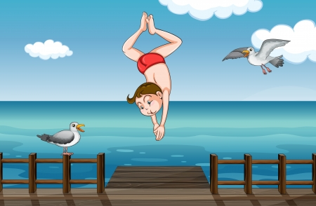 Illustration of a jumping boy in a water Vector