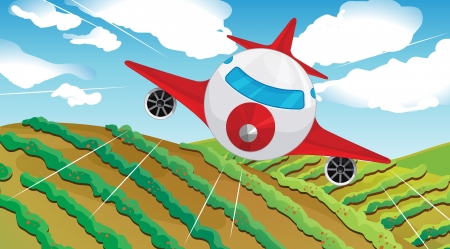 airplain: Illustration of a flying airplain and a beautiful landscape Illustration