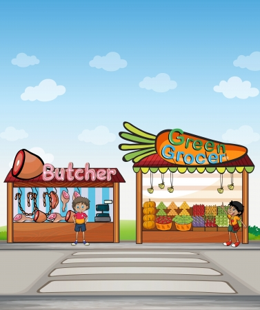 machine shop: Illustration of a butcher shop and a fruit stand Illustration