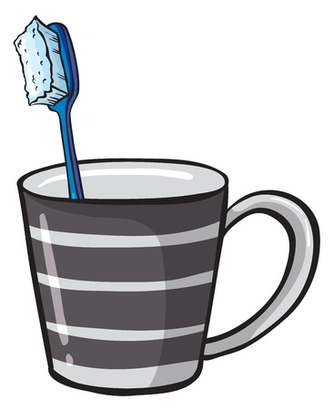 regimen: Illustration of a toothbrush and a cup on a white background