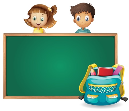 wooden frame: illustration of kids and a green board on a white background