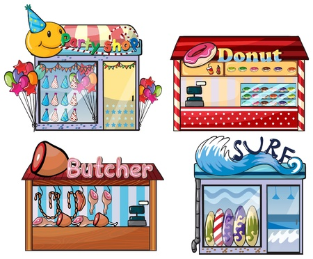 donut shop: Illustration of a set of shops