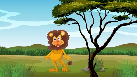 Illustration of a male lion in the jungle Stock Vector - 17410921