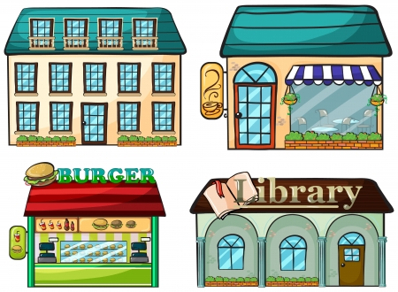 book shop: Illustration of a set of shops