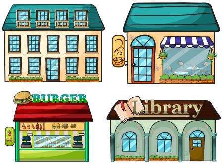 retail shop: Illustration of a set of shops