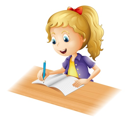 picure: Illustration of a young girl writing on a white background