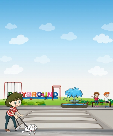 Illustration of a child with her dog across a playground Stock Vector - 17410940