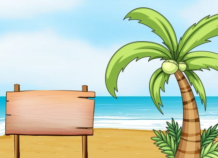 coconut water: Illustration of a signboard in the seashore Illustration