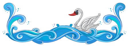 enhancement: Illustration of a border with a swan on a white background
