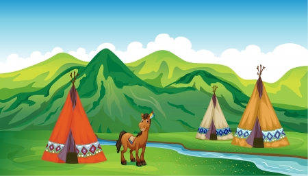 Illustration of tents and a smiling horse in a beautiful nature