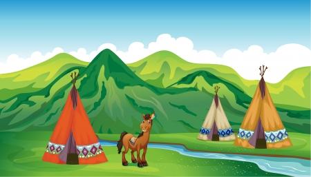 campamento: Ilustración de tiendas de campaña y un caballo sonriente en una hermosa naturaleza