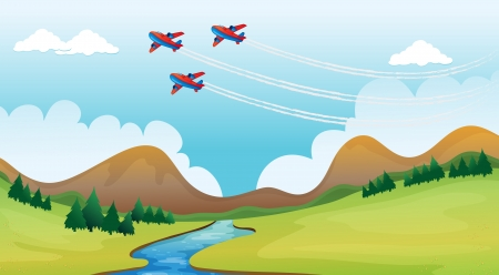 water stream: Illustration of flying airplains and a beautiful landscape Illustration