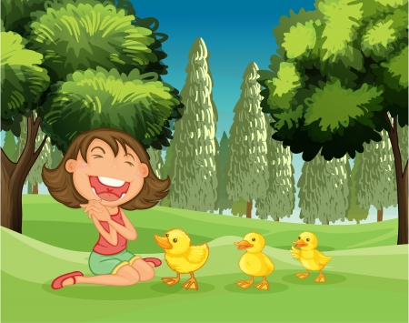 farm land: Illustration of a happy girl and the three ducklings in the park