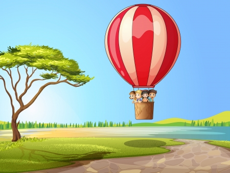 flying man: Illustration of kids in a air balloon in a beautiful nature
