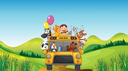 illustration zoo: illustrazione di vari animali e il bus zoo in una natura bellissima Vettoriali