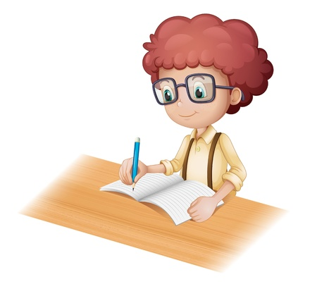 kids writing: Illustration of a nerd boy writing on a white background