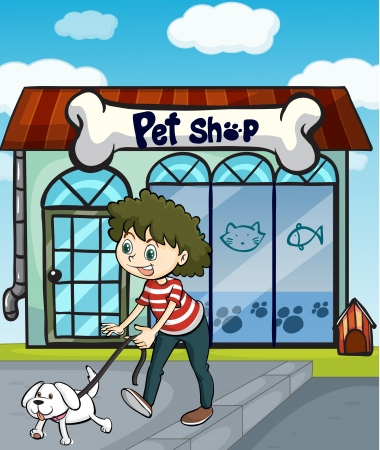 pet store: Illustration of a smiling girl with dog and a pet shop