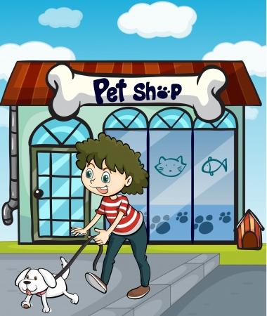 tienda de animales: Ilustraci�n de una ni�a sonriente con el perro y una tienda de mascotas