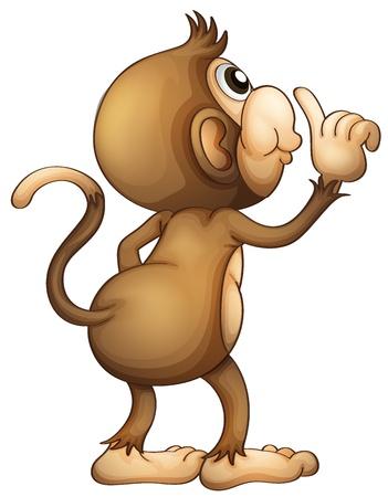 monkeys: Ilustraci�n de la parte posterior de un mono en un fondo blanco