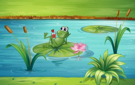Illustration of a frog in a beautiful nature Vector