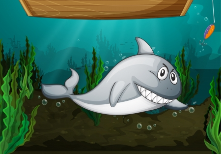 under water grass: Illustration of shark fish and a bench in water
