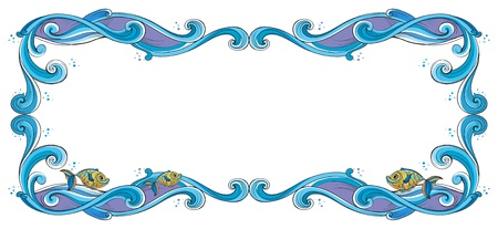 beautify: Illustration of a border with fish on a white background