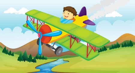 Illustration of a boy and a flying airplane Vector