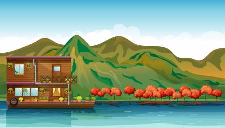 boathouse: Illustration of a river and a boat house in a beautiful nature