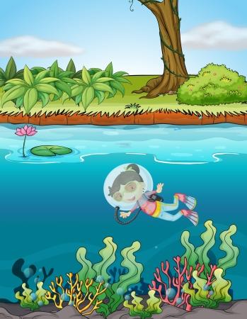 Illustration d'une fille et d'une rivière dans une belle nature