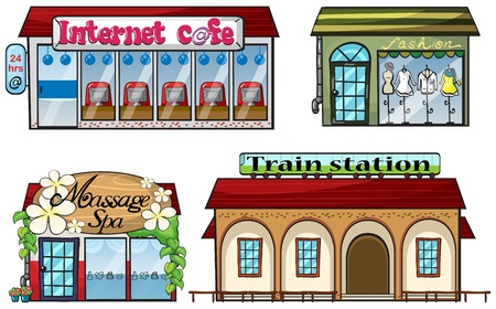 station: Illustration of various shops and a train station on a white background Illustration